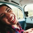 Girl on road trip doing a funny face — Stock Video #45177891