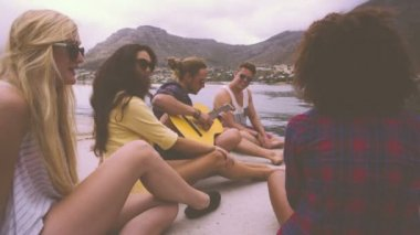 Group of friends playing guitar — Vídeo Stock