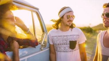 Friends on road trip — Stock Video