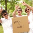 Rock n Roll Grandmas with sign — Stock Video #45453001