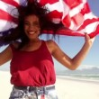 Girl with american flag — Stock Video #45454657