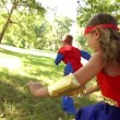 Happy superhero children — Stock Video #45457561