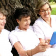 Group of senior women with tablet — Stock Video