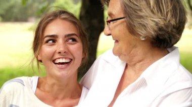 Grandma dancing her granddaughter — Stock Video