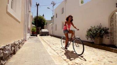 Girl riding a bike — Stock Video