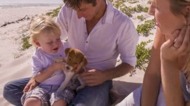 Family and pet dog sitting on beach — Vídeo de Stock