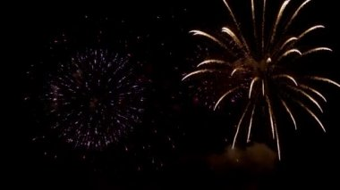Fireworks against black sky — Stock Video