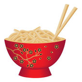 Red Noodle Bowl with Chopsticks — Stock Vector