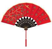 A Red Silk Chinese Fan — Stock Vector