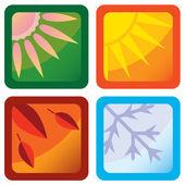 Stylized Four Seasons Weather Icons — Stock Vector