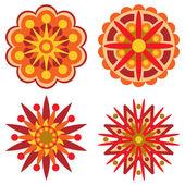 Cuatro elementos de flor o diseño retro — Vector de stock