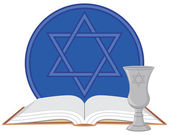 Kiddush Cup with Prayer Book — Stock Vector