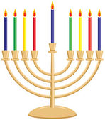 Hanukkah (Chanukkah) Menorah with Lit Candles — Stock Vector