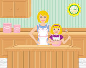 Retro Mother and Daughter Baking in the Kitchen — Stock Vector