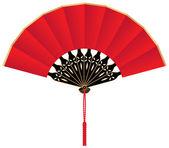 Красный шелковый китайский вентилятор с кистями — Cтоковый вектор