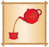 Pouring Tea from a Chinese Teapot — Stock Vector