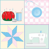 Sewing Tools and Crafts — Stock Vector