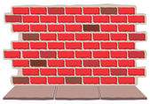 A Brick Wall and Sidewalk — Stockvector