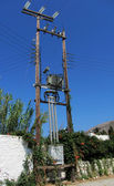 Power line, power pole and transformer — Stock Photo