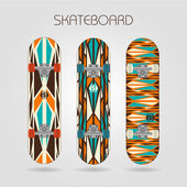 Skateboard set. Retro tracery — Stock Vector