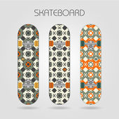 Skateboard set. Girly tracery — Stock Vector