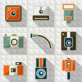 Icons retro camera — Stock Vector
