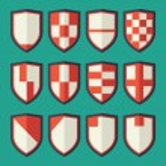 Постер, плакат: Set of shields red