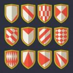 Постер, плакат: Set of shields red 2