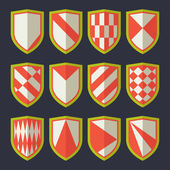 Set of shields red 2 — Stock Vector
