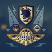 Speedwey 666  retro emblems — Stock Vector