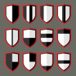 ������, ������: Set of shields black and white