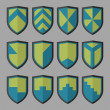 ������, ������: Set of shields blue and green
