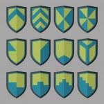 Постер, плакат: Set of shields blue and green