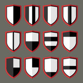 Set of shields black and white — Stock Vector