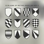 Постер, плакат: Set of shields black and white