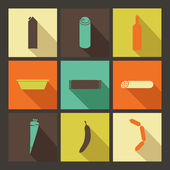 Food. Set of bright icons in flat style — Stock vektor
