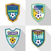 Set of soccer championship emblems — Stock Vector