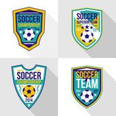 Set of soccer championship emblems — Stock Vector