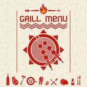 Grill menu emblem  and icons dark red — Stock Vector