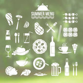 Icon set summer menu — Stockvektor