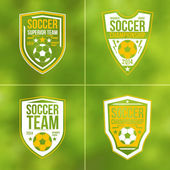 Set of soccer championship flat emblems — Stock Vector