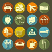 Icons vacation and travel on the color plate — Stock Vector