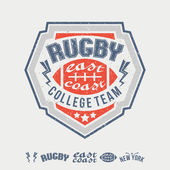 College east coast rugby team emblem and icons — Stock vektor