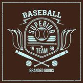 Escudo de equipo de béisbol universitario — Vector de stock