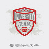 Rugby emblem university team and design elements — Stock Vector