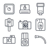 Icons retro photo camera — Stock Vector
