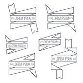 Set of ribbons thin line — Vector de stock