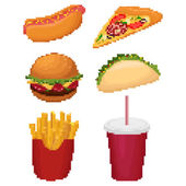 Pixel fast food — Stock Vector