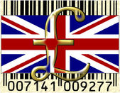 United Kingdom currency and flag — Stock Photo