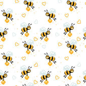 Funny bees pattern — Stock Vector